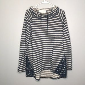 French Laundry blue & white striped sweater 1X